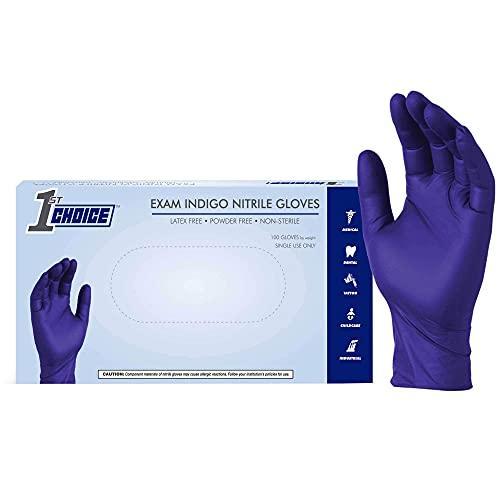 1st Choice Indigo Nitrile Exam Gloves, Box of 100, 3 Mil, Size Medium, Latex Free, Powder Free, Textured, Disposable, Non-Sterile, Food-Safe, 1EINMBX