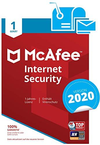 McAfee Internet Security 2020 | 1 Gerät | 1 Jahr | PC/Mac/Smartphone/Tablet | Aktivierungscode per Post