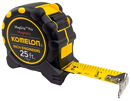 "Komelon 7125IE; 25' x 1"" Magnetic MagGrip Pro Tape Measure with Inch/Engineer Scale, Yellow/Black"