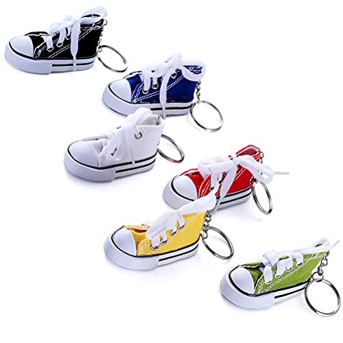 6 Pieces Canvas Tennis Shoe Key Chain Shoes Shape Key Rings Sport Style Split Keychain Set, 6 Colors