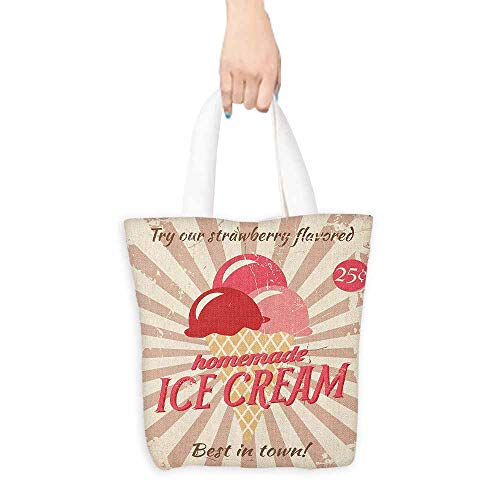 Tote bag,Ice Cream Vintage Style Sign with Homemade Ice Cream Best in Town Quote Print,Reusable Grocery Bags,16.5'x19', Red Coral Cream Tan