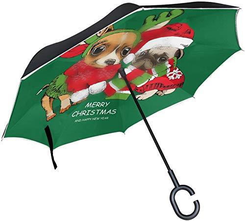 Año nuevo Navidad Pug Puppy Dog Paraguas invertido verde,Mango en forma de C A prueba de viento A prueba de rayos UV Viaje al aire libre Sun Car Paraguas reversible