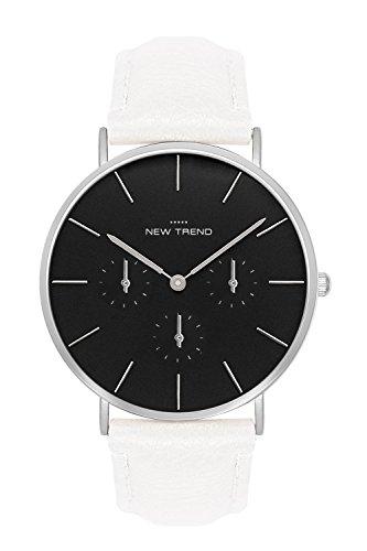 New Trend Unisex Armbanduhr Damen-Uhr Herren-Uhr, Analog Display, Quarzwerk, Leder-Armband, Chronograph-Optik, mit Dornschlie§e