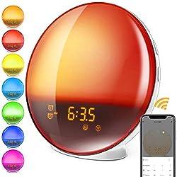 Smart Wake-Up Light, Alarm Clock 8 Colored Sunrise Simulation & Sleep Aid, Dual Alarm Clock with FM Radio, Compatiable with Alexa and Google Home