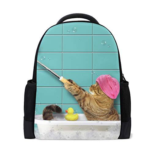 Rucksack Bookbag Daypack Badewanne Selfie Katze wasserdicht für mittlere Reise Mädchen Jungen