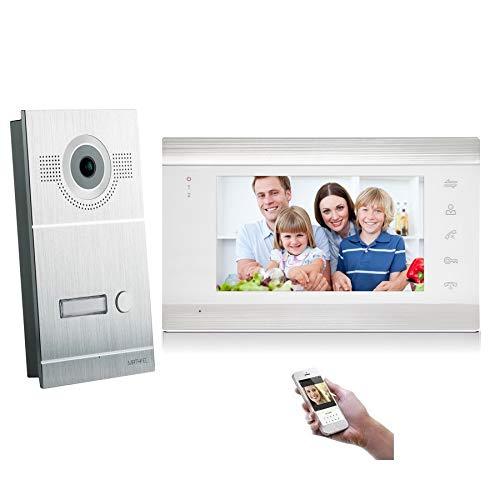 4 Draht Video Türsprechanlage Gegensprechanlage Fischaugenkamera 170 Grad, HD Auflösung WLAN, Farbe: Silber, Größe: 1x7'' Monitor weiß Außenstation silber