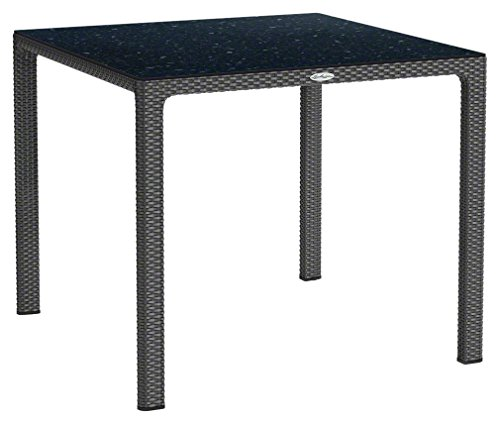 LECHUZA Esstisch mit HPL-Tischplatte (Gartenmöbel), Granit, 90 x 90 x 75 cm
