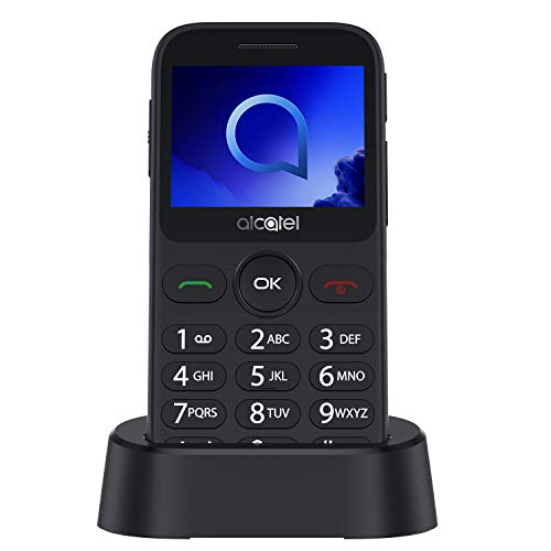 """Alcatel 2019G Metallic Silver Pantalla 2.4"""" Teléfono Móvil Fácil Uso Teclas Grandes Camara 2mpx,Bluetooth BT 2.1,FM Radio,Linterna, Boton SOS,Grabador [Versión ES/PT]"""