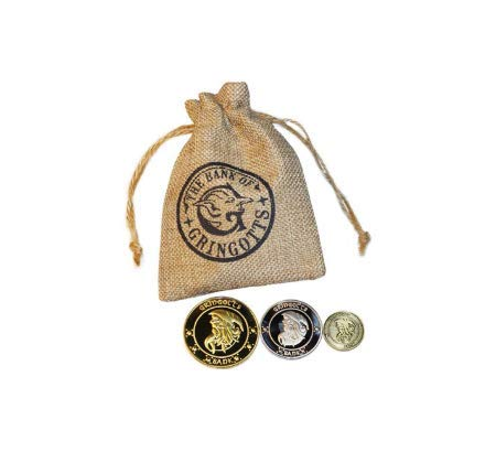 Gringotts Coins Lot Three Pieces Saga Harry Potter Collection Gift a Jute Sack with the Gringotts Logo, Replica Film Philosophy's Stone, Inclusief 3 Gouden, Zilveren en Koperkleurige Munten