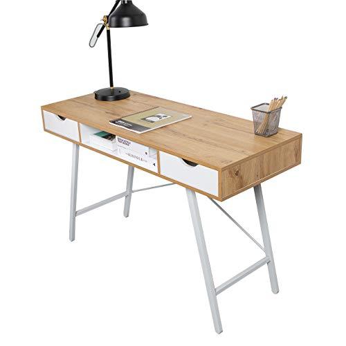 SogesHome Escritorio de escritorio para oficina en casa con 2 cajones y espacio de almacenamiento para amplio almacenamiento, SH-GCBG1019-NW