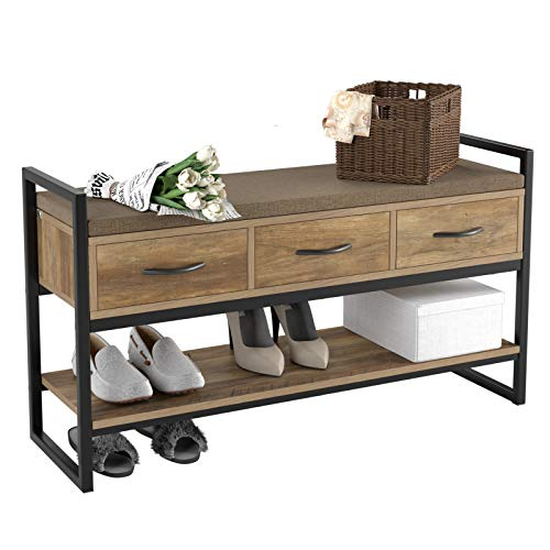 HOMECHO Shoe Bench, 2 -Tier Shoe Rack with 3 Fabric Drawer and Removable Padded Cushion, Ideal for for Entryway, Bedroom, Living Room, Hallway, Max Load 320 LBS, Rustic Brown