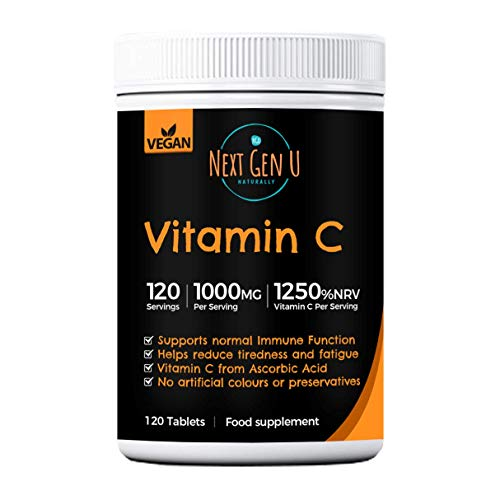 High Strength Vitamin C Tablets 1000mg – 120 Vegan Tablets | 1250% NRV Vitamin C per Serving | Premium Ascorbic Acid Formula | Preservatives & Gluten Free | Healthy Skin & Wrinkling | 4 Months Supply