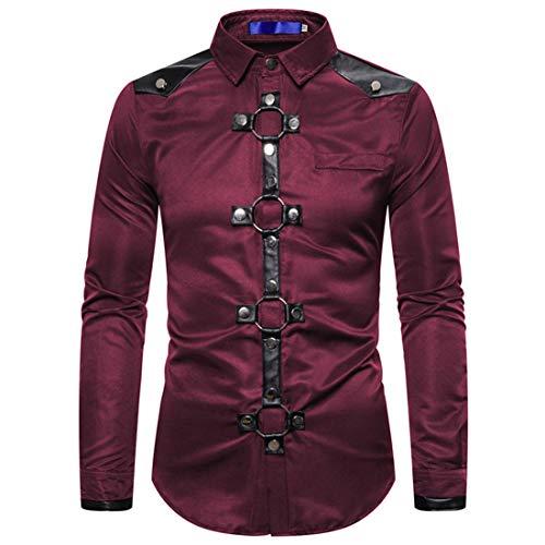 Hemd Herren Slim-Fit Langarm Shirt Einfarbig Freizeit Button Down Patchwork Tops Retro Mode Leichtes Atmungsaktives T-Shirt Casual Hip Hop Party Hemd S