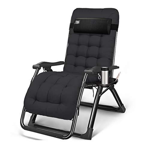 Liegestuhl Gartenliegestuhl, Klappliegestuhl, 150 Kg Traglast, Schwarz, Terrassenstühle (Color : Cotton pad)