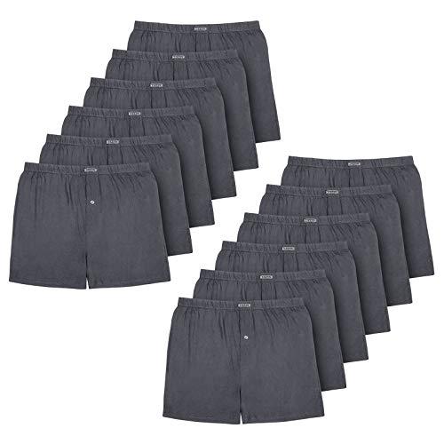 ROYALZ 10er Pack Boxershorts für Herren Baumwolle Locker American Style Basic Jungen Unterhosen Weit klassisch Weich 10 Set Männer Unterwäsche, Farbe:Dunkelgrau, Größe:L