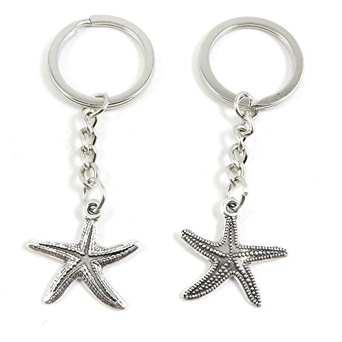10 x Keychain Keyring Key Ring Chain Jewelry Findings Q4EH3 Starfish Sea Star