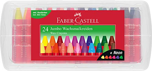 Faber-Castell 120034 - Wachsmalkreiden Jumbo 24er Box, inklusive Neon-Farben und Hautfarbe