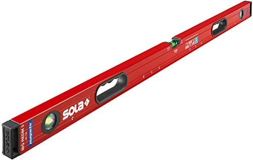 SOLA Big RedM3 magentische Wasserwaage in 180 cm - starker Halt durch Neodym Magnete - mit patentierter SOLA-Focus Libelle und SOLA-Leuchtbelag - mit integrierten Handgriffen - mit 2-K-Endkappen