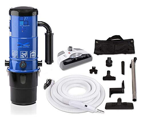 Prolux CV12000 Central Vacuum Unit System with Electric Hose Power Nozzle Kit Central Vacuum Unit with Dual Shield HEPA Filtration and EZ Empty Dirt Bin