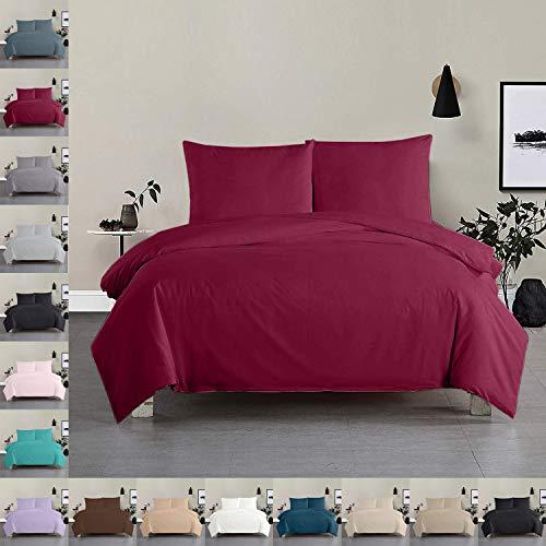 Bettwäsche Bettgarnitur Bettbezug 100% Baumwolle 135x200 155x220 200x200, Farbe Bettwäsche:Weinrot, Größe Bettwäsche:135 x 200 cm
