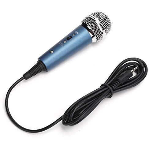 PUSOKEI Micrófono de Karaoke, micrófono de Condensador con Cable de 3,5 mm con Adaptador de Audio de 3,5 mm en Forma de U, micrófono de Mano para Karaoke de computadora(Azul)