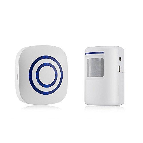 Andylies Enchufe de la UE Detector sensor de movimiento de puerta de negocios inalambrico Alarma de entrada de seguridad de casa con 1 receptor enchufable y 1 detector PIR resistente a la intemperie (