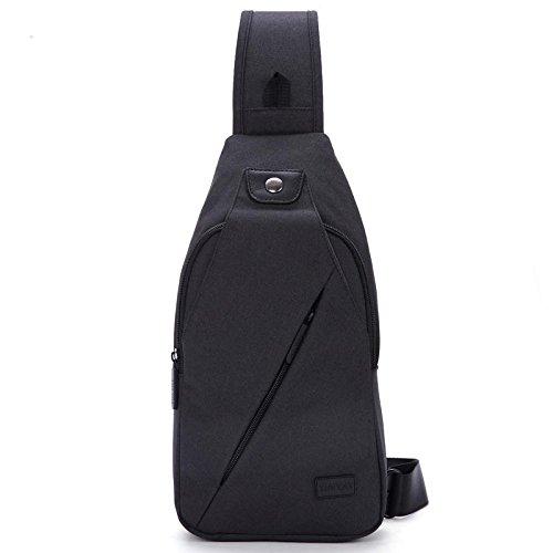 Poitrine sac nylon imperméable à l'eau de voyage imperméable résistant à l'usure 35 * 16 * 6,5 grande capacité hommes et femmes poitrine sac Messenger sac , black