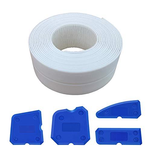 Selbstklebende PE-Dichtungsband für Küche, Bad, WC, Duschbad,Badewanne,Die Verbindung zwischen Toilette und Boden. Dichtstoff und Sanitär Silikon abdecken (Weiß)
