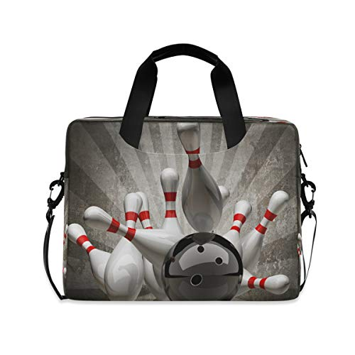 HMZXZ Sport Bowling Ball Abstürzen Stifte Laptoptasche 13 14 15.6 Zoll Laptop Tasche Aktentasche Hülle Notebooktasche Schulter Tasche Handtasche für Arbeit Business Uni