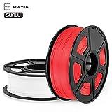 SUNLU Filamento PLA 1.75, Stampante 3D PLA Filamento 2kg Spool Tolleranza del diametro +/- 0,02 mm, PLA Bianco + Rosso