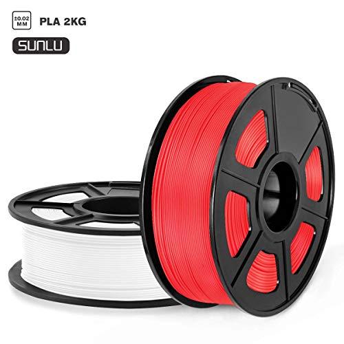 SUNLU Filament 1.75mm PLA 3D Drucker Filament PLA 2kg Spule, Toleranz beim Durchmesser liegt bei +/- 0,02mm, PLA Weiß+Rot