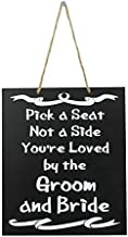 JennyGems Wedding Signs - Pick A Seat Not A Side You're Loved By The Groom and Bride - Wedding Ceremony and Reception Sign for Seating Guests - Wood Wedding Directional Decorations