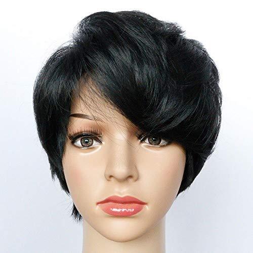 Koibless Perruque Femme Noir Oblique Frange Cheveux Courts Résistant À La Chaleur La Synthèse Cosplay Fête Ensemble De Cheveux
