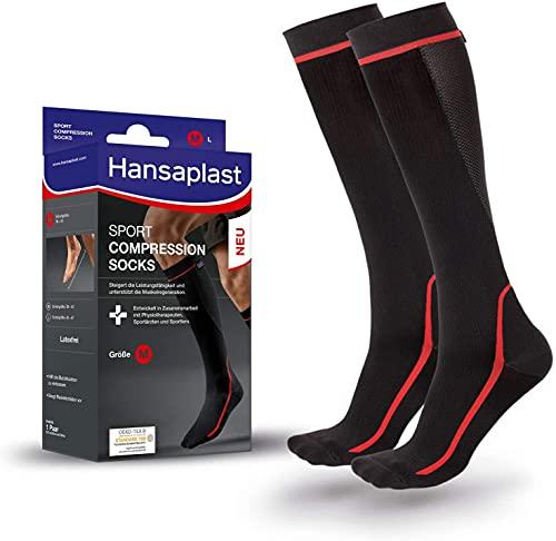 Hansaplast Sport Compression Socks, Sport Kompressions-Strümpfe zur Unterstützung der Muskulatur, Kniestrümpfe fördern die Muskelregeneration, 1 Paar, Größe S/M