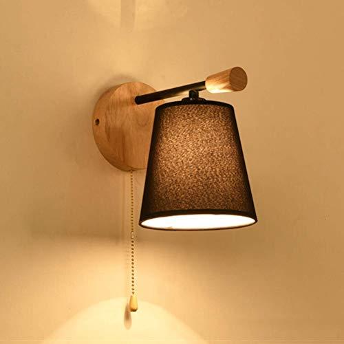 YLCJ Modern Art-nachttafellamp-wandlamp, elegante creatieve houten wandlamp met stoffen schaduw en trekschakelaar, binnenverlichting, leeslamp, wandlamp voor slaapkamer, woonkamer, studiekamer, hotel, wit