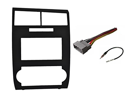 Factory Matched Black Double Din Dash Kit Aftermarket Radio Stereo Installation Kit + Wire Harness + Antenna Adapter Compatible with Dodge Charger 2006-2007 Magnum 2005-2007