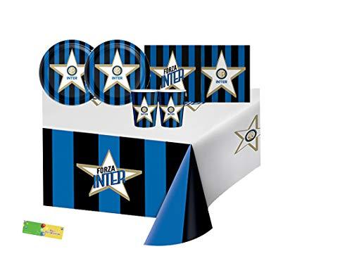 Big Party IRPot - Kit N 3 Coordinato TAVOLA FC Inter New NERAZZURRO Strisce Tifoso Squadra