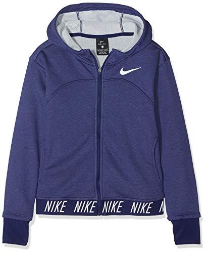 Nike Dri-fit939533 Veste à Capuche Fille, Blue Void/Heather/Blue Void/(White), FR : M (Taille Fabricant : M)