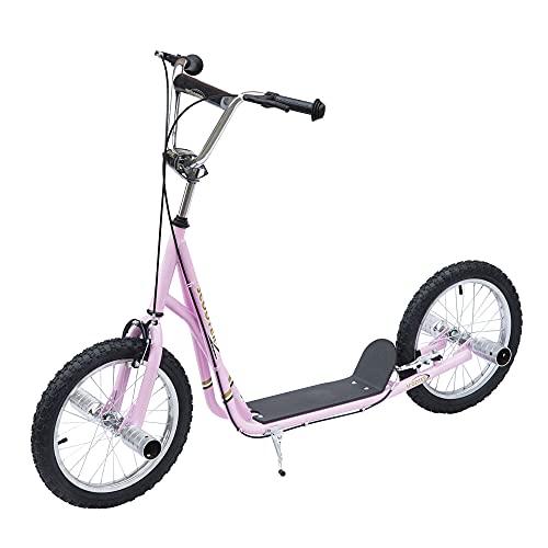 HOMCOM Patinete Scooter para Niños de +5 Años con Neumáticos Inflables Grandes de 16 Pulgadas con Frenos y Manillar Ajustable en Altura 143x58x92-100 cm Rosa