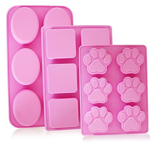 YuCool - Moldes silicona jabón 6 cavidades, 3 moldes