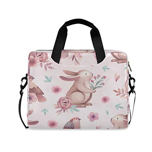JNlover Cute Animal Rabbit Flower Laptop Bag 16 inch, Portable Sleeve Briefcase Laptop Case Notebook Computer Carrying Case Bag for Women Men
