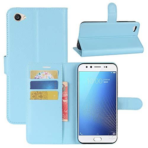 CUILILISWSB Caja del teléfono móvil WHHHRH FOR Vivo X9S Funda de Cuero Horizontal de la Textura de la Textura con el Soporte y Las Ranuras y la Cartera (Negro) (Color : Blue)