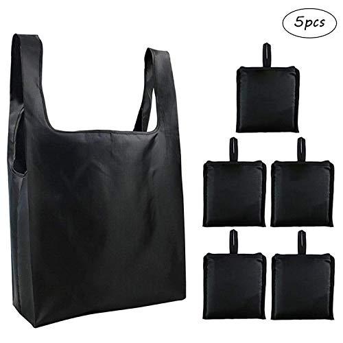 5Pcs Bolsas de Compras Grande Plegable Mini Maxi Shopper Pocket Ecológicas Reutilizables Bolsas para Comprar Lavables Bolsas de Tela Oxford para Supermercado (Negro)