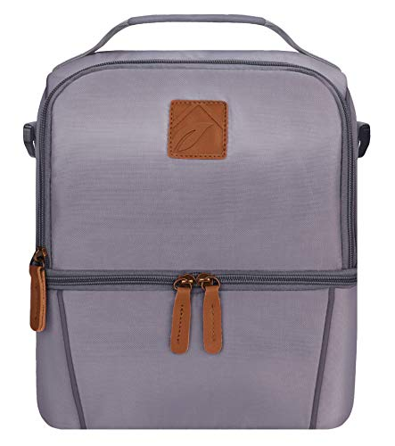 Elvira Insulated Dual Compartment Lunch Bag for Women Men, Large Leakproof Cooler Tote Bag with Removable Shoulder Strap for Work School Picnic Beach-Grey