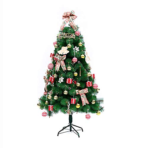 FTFTO Living Equipment Árbol de Navidad Artificial predecorado Árbol de Navidad Premium fácil de Montar con un Soporte de Metal Resistente Adornos navideños Rojo 5 pies (150 cm)