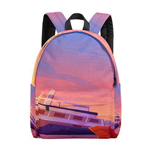 Backpack Boy Girl Daypack,Ship Ocean Sunset Kids Backpack School Bookbag Travel Bag Casual Rucksack Gift