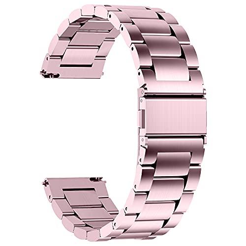 Fullmosa 4 Colores para Correa Metálica de Reloj de Liberación Rápida, Pulsera Reloj de Acero Inoxidable, Rosa 20mm