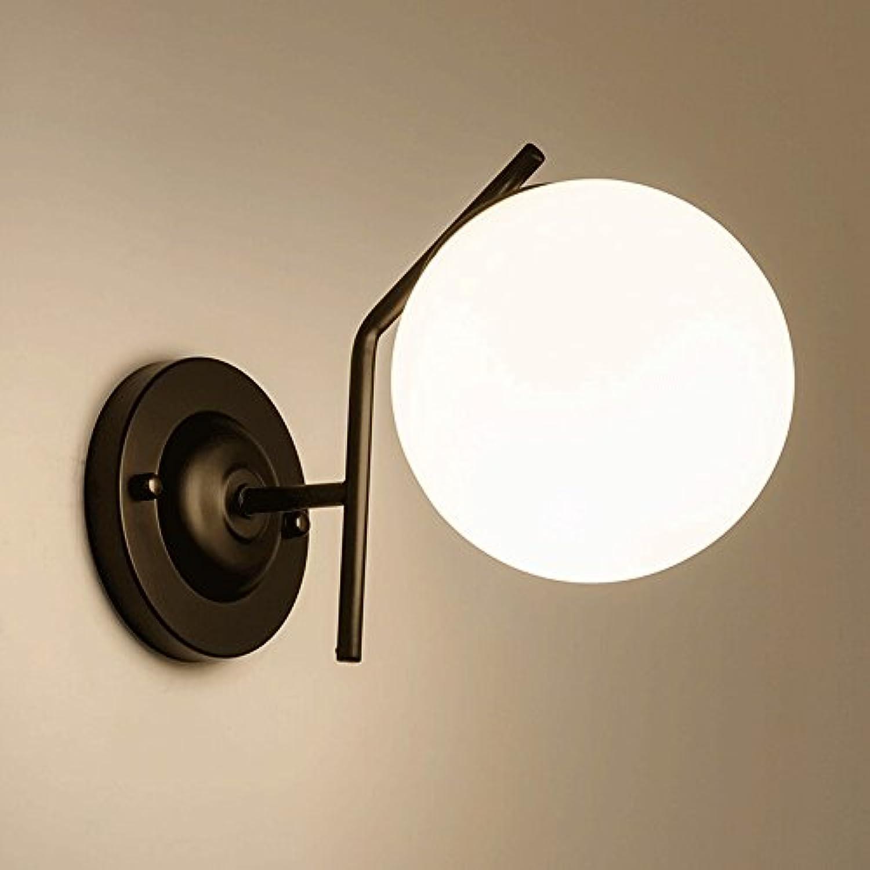 Nordic Eisen Wandleuchten, postmoderne LED Runde Glaskugel Beleuchtung Dekorative Hngelampe Wandlampen Kreative Schlafzimmer Nacht Schwarz Wandleuchte