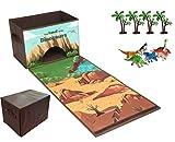 Caja plegable para guardar juguetes con pista de carreras y 6 x dinosaurios y 4 x árboles, organizador de juguetes plegable y ligero, caja de juguetes fácil de transportar con asas y cierre de Velcro.