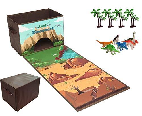 Moji Zusammenklappbarer Spielzeugbehälter mit 6 x Dinosaurier und 4 x Bäume, leicht zusammenklappbarer Spielzeug-Organizer, einfach zu tragende Spielzeug-Box mit Griffen